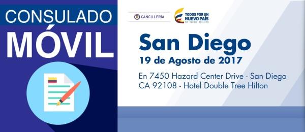 El Consulado de Colombia en Los Ángeles realizará un Consulado Móvil en San Diego el sábado 19 de Agosto de 2017