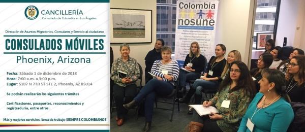 Consulado de Colombia en Los Ángeles realizará una jornada móvil en Phoenix, Arizona, el sábado 1 de diciembre de 2018