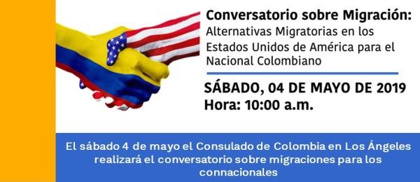 El sábado 4 de mayo el Consulado de Colombia en Los Ángeles realizará el conversatorio sobre migraciones