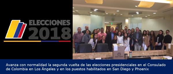 Avanza con normalidad la segunda vuelta de las elecciones presidenciales en el Consulado de Colombia en Los Ángeles y en los puestos habilitados en San Diego y Phoenix