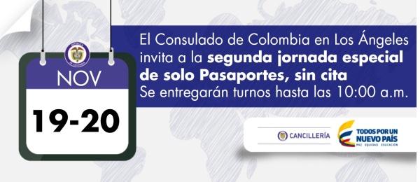 El Consulado de Colombia en Los Ángeles invita a la segunda jornada especial de solo Pasaportes los próximos 19 y 20 de noviembre